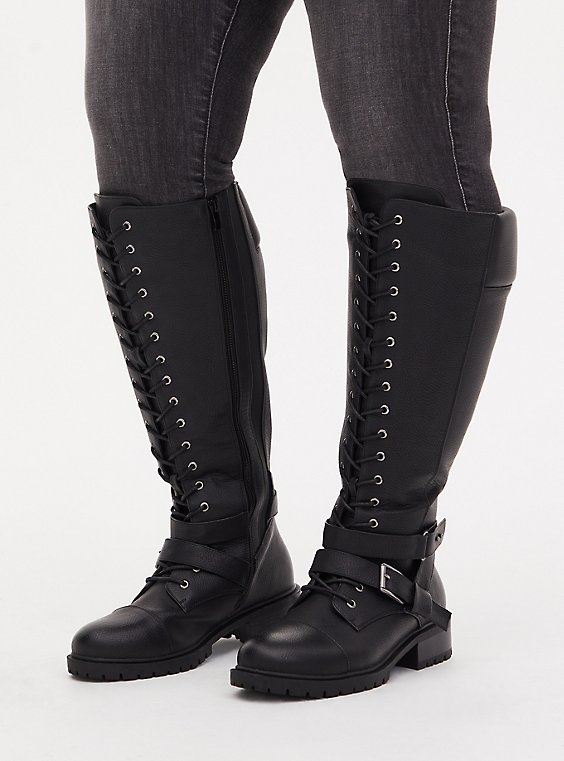 Black Faux Leather Lace-Up Knee-High Combat Boot (WW), , hi-res