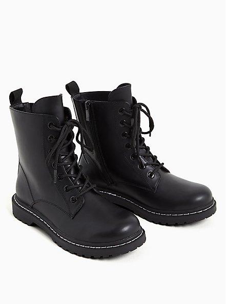 Black Faux Leather Lace-Up Combat Boot (WW), BLACK, alternate