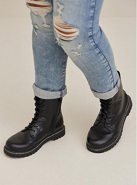 Black Faux Leather Lace-Up Combat Boot (WW), BLACK, hi-res
