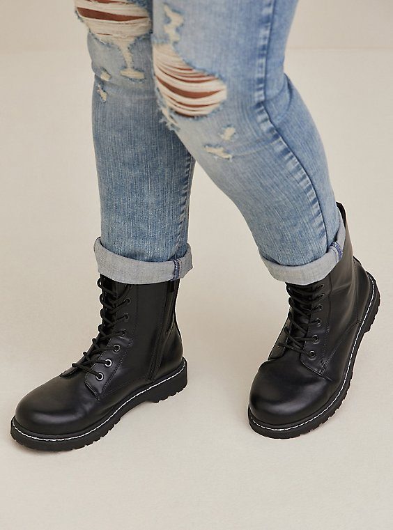 Black Faux Leather Lace-Up Combat Boot (WW), BLACK, hi-res