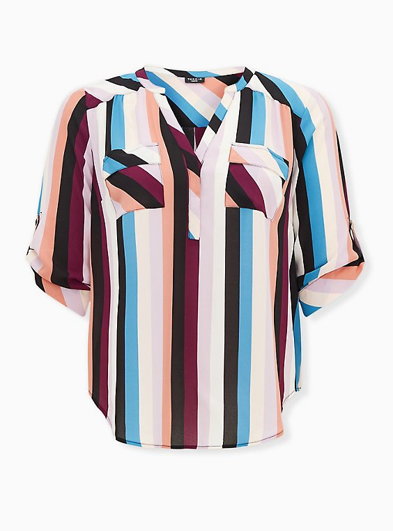 Harper - Multi Stripe Georgette Pullover Blouse, STRIPE - MULTI, ls