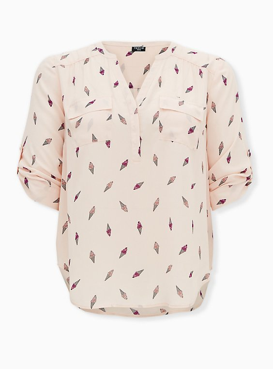 Harper - Light Pink Ice Cream Cone Georgette Pullover Blouse, CHILLIN ICE CREAM, ls