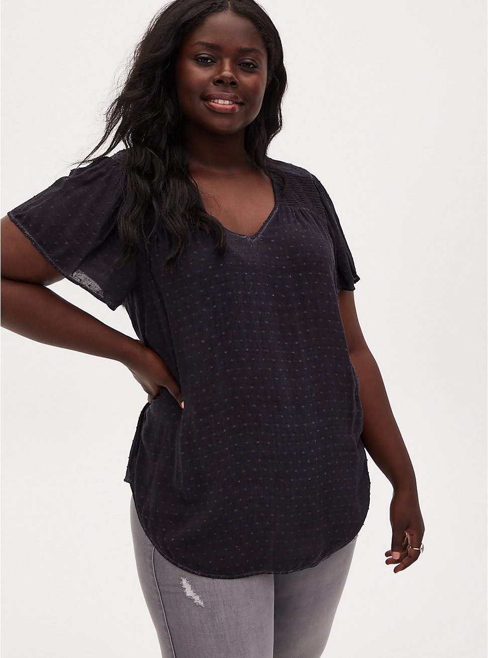 Dark Slate Grey Washed Swiss Dot Smocked Blouse, NINE IRON, hi-res