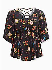 Black Floral Stretch Challis Lattice Back Babydoll Top, FLORALS-BLACK, hi-res