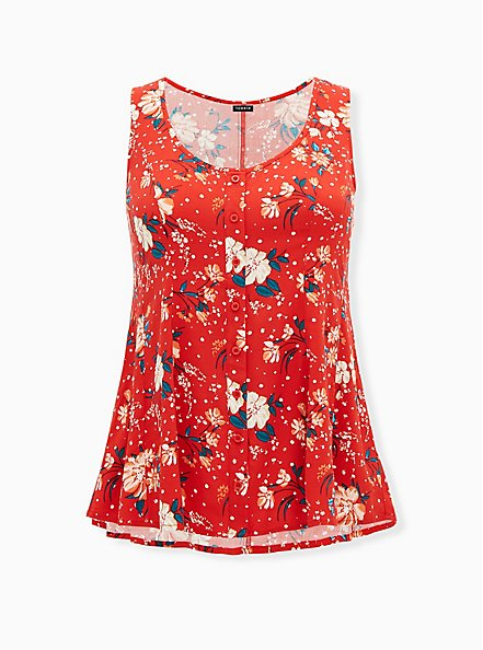 Red Floral Challis Button Front Fit & Flare Tank, FLORAL - RED, hi-res