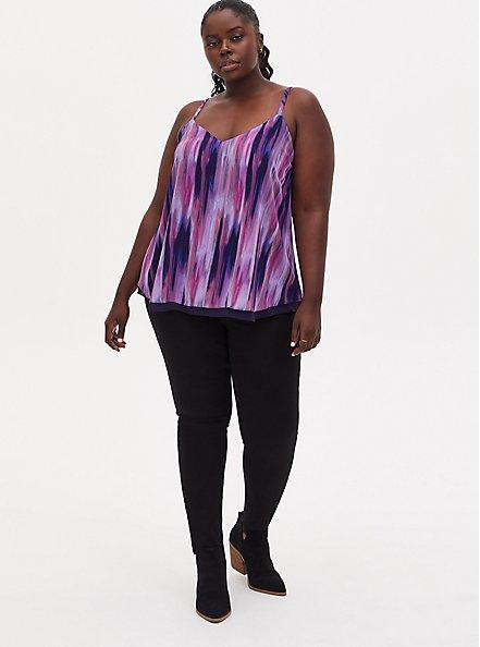 Sophie - Multi Watercolor Stripe Double Layer Swing Cami, MULTI TIE DYE, alternate