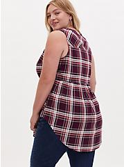 Emma - Burgundy Purple Plaid Challis Drawstring Babydoll Tunic Tank , PLAID - RED, alternate