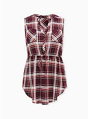 Emma - Burgundy Purple Plaid Challis Drawstring Babydoll Tunic Tank , PLAID - RED, hi-res