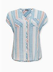 Blue Stripe Gauze Button Front Dolman Blouse, STRIPE - WHITE, hi-res