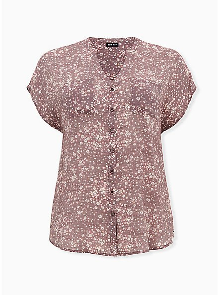 Dusty Purple Ditsy Floral Gauze Button Front Dolman Blouse, FLORAL - PURPLE, hi-res