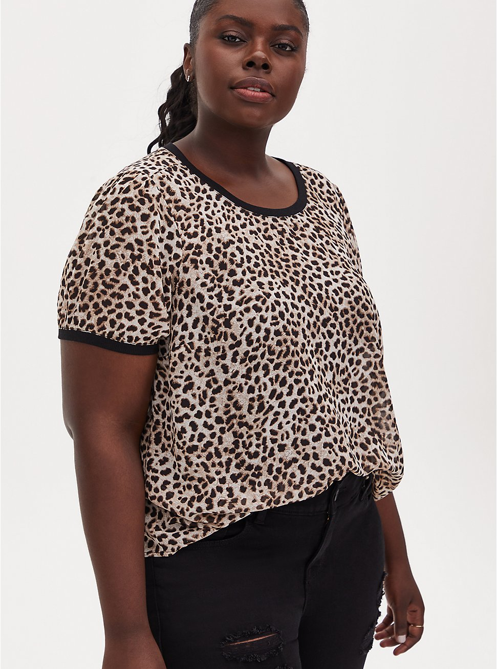 Plus Size Leopard Chiffon Puff Sleeve Top, CHEE LEOPARD, hi-res