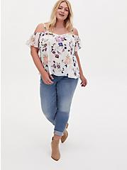 White Floral Crinkled Chiffon Cold Shoulder Blouse, FLORAL - WHITE, alternate