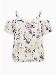 White Floral Crinkled Chiffon Cold Shoulder Blouse, FLORAL - WHITE, hi-res