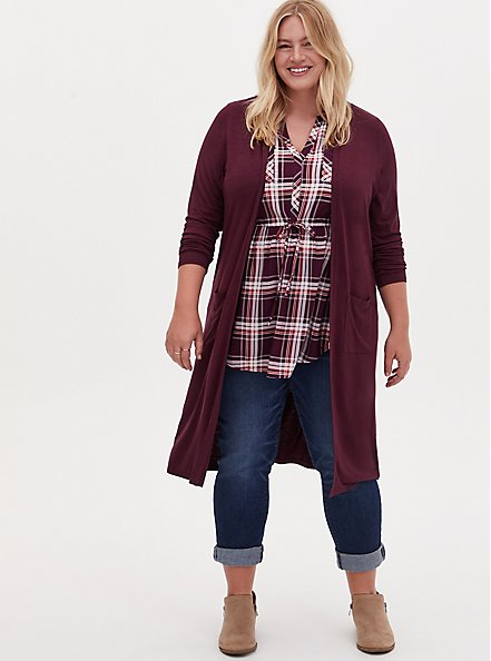 Super Soft Slub Burgundy Purple Open Front Longline Cardigan, WINETASTING, hi-res