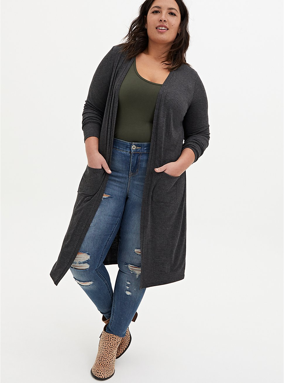 Super Soft Slub Charcoal Grey Open Front Longline Cardigan, CHARCOAL  GREY, hi-res