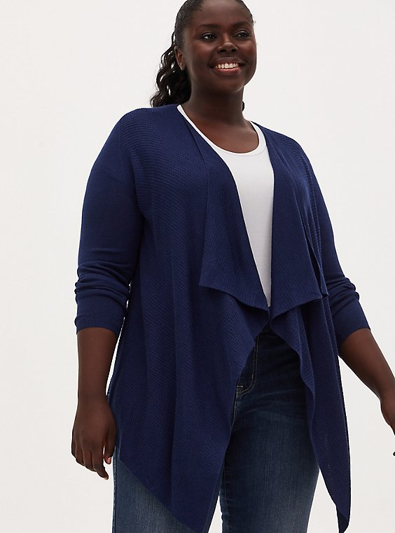 Navy Mixed Stitch Drape Front Cardigan, MEDIEVAL BLUE, hi-res