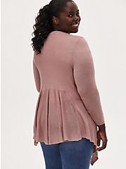 Taupe Mixed Stitch Drape Front Cardigan, FAWN, alternate