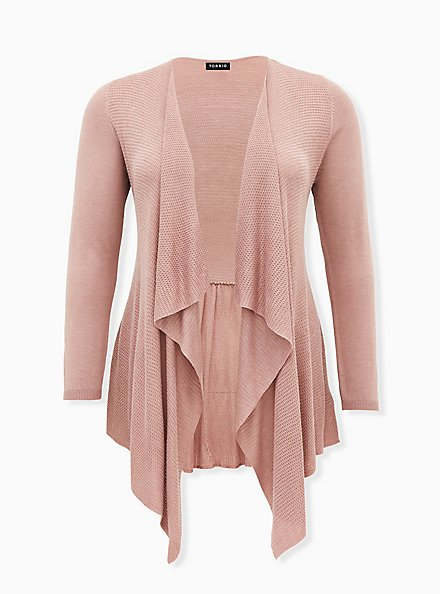 Taupe Mixed Stitch Drape Front Cardigan, FAWN, hi-res