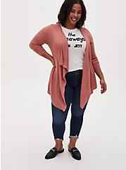 Dusty Coral Mixed Stitch Drape Front Cardigan, DESERT SAND, alternate