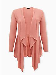 Dusty Coral Mixed Stitch Drape Front Cardigan, DESERT SAND, hi-res