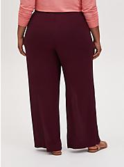 Burgundy Purple Crinkle Gauze Wide Leg Pant, PURPLE, alternate