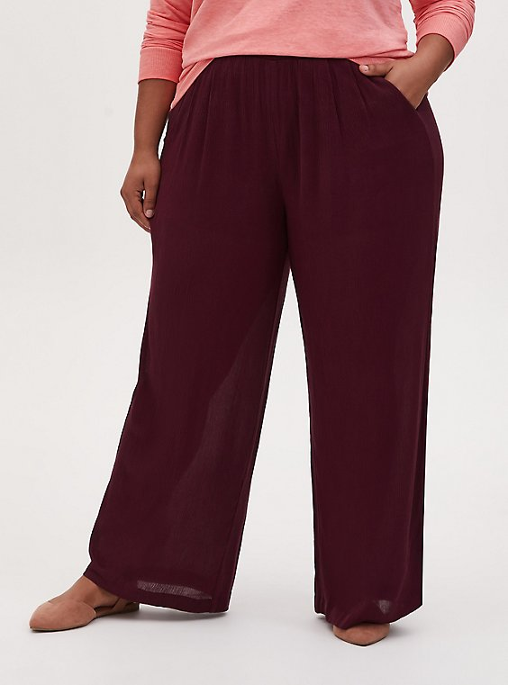 Burgundy Purple Crinkle Gauze Wide Leg Pant, PURPLE, hi-res