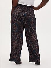 Black & Multi Paisley Studio Knit Self Tie Wide Leg Pant, , alternate