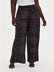 Black & Multi Paisley Studio Knit Self Tie Wide Leg Pant, , hi-res