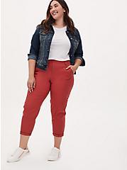 Crop Utility Pant - Poplin Red Terracotta, RED, alternate
