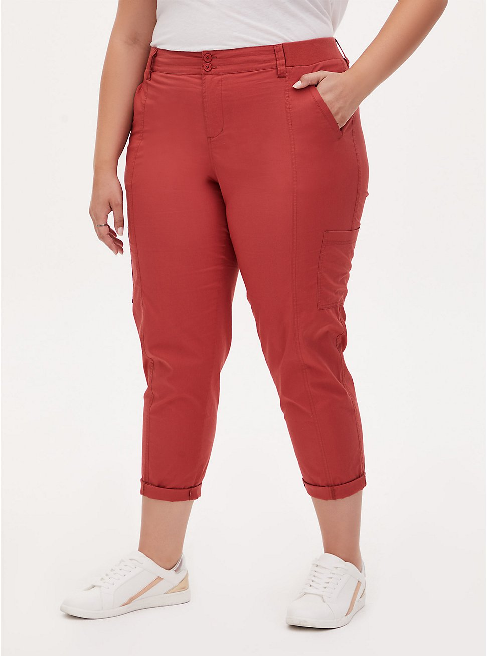 Plus Size Crop Utility Pant - Poplin Red Terracotta, RED, hi-res
