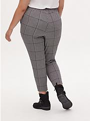 Black & White Plaid Houndstooth Crepe Pull-On Tapered Pant, PLAID, alternate