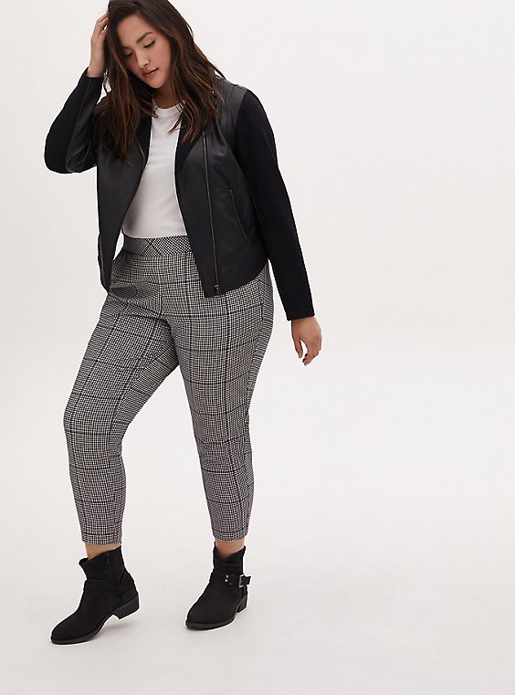 Black & White Plaid Houndstooth Crepe Pull-On Tapered Pant, PLAID, hi-res