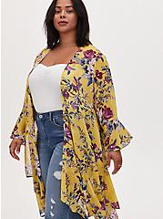 Yellow Floral Crepe Handkerchief Duster Kimono, FLORAL - YELLOW, alternate