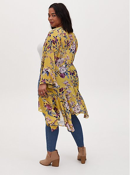 Yellow Floral Crepe Handkerchief Duster Kimono, FLORAL - YELLOW, alternate