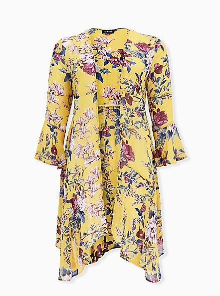 Yellow Floral Crepe Handkerchief Duster Kimono, FLORAL - YELLOW, hi-res
