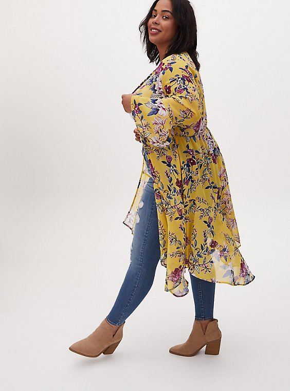 Plus Size Yellow Floral Crepe Handkerchief Duster Kimono, FLORAL - YELLOW, hi-res