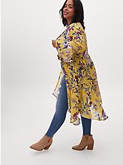 Yellow Floral Crepe Handkerchief Duster Kimono, FLORAL - YELLOW, hi-res