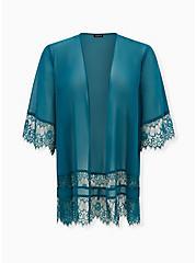 Teal Chiffon Lace Trim Kimono, MACAW TEAL, hi-res