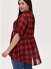 Red Plaid Chiffon Shirt Kimono, PLAID - RED, alternate