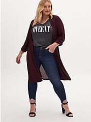 Plus Size Burgundy Purple Georgette Self Tie Trench Jacket, WINETASTING, hi-res