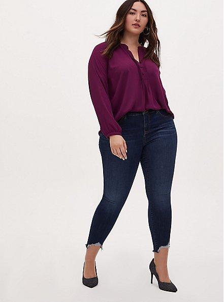 Plus Size Plum Purple Georgette Pintuck Button Down Blouse, WINETASTING, alternate