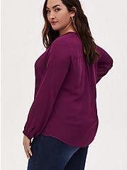 Plum Purple Georgette Pintuck Button Down Blouse, WINETASTING, alternate