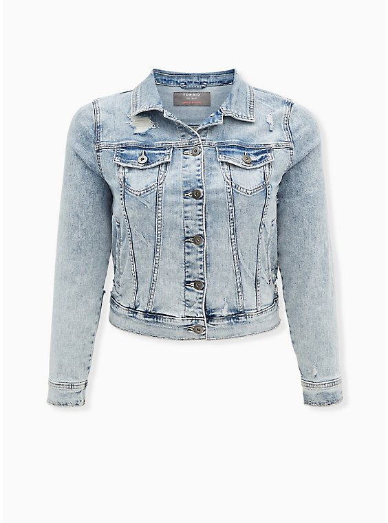 Distressed Denim Trucker Jacket - Light Wash, LIGHT WASH, ls