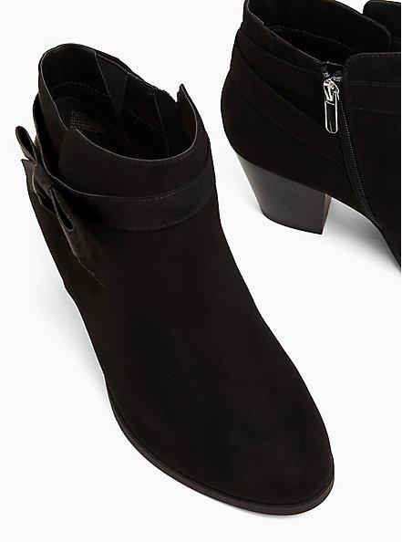 Black Faux Suede Side Bow Bootie (WW), BLACK, alternate