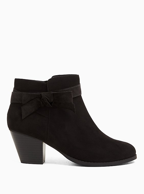 Black Faux Suede Side Bow Bootie (WW), , hi-res
