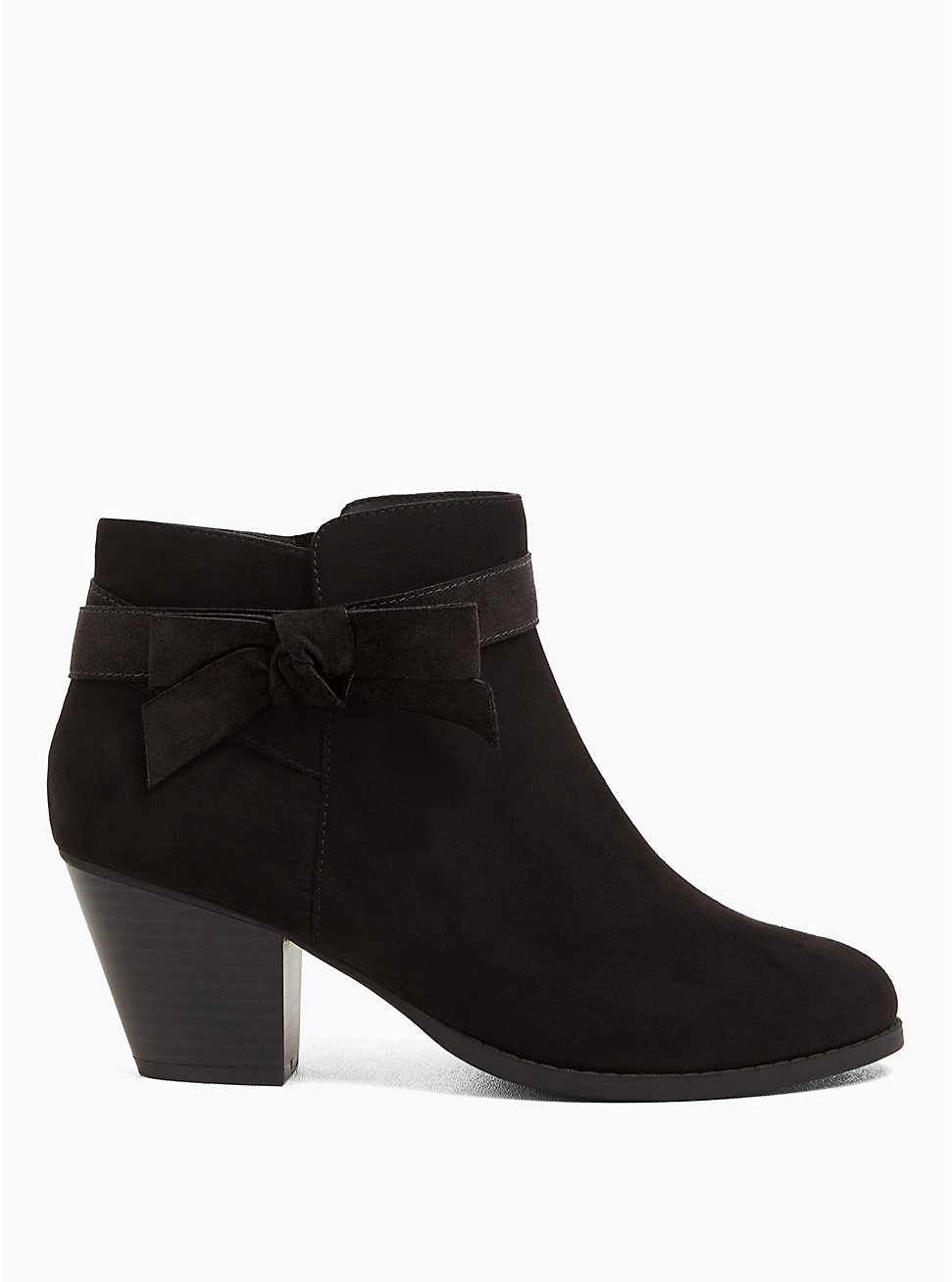 Black Faux Suede Side Bow Bootie (WW), BLACK, hi-res