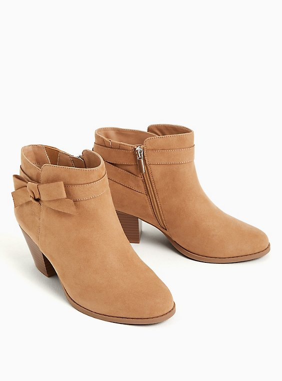 Beige Faux Suede Side Bow Bootie (WW), TAN/BEIGE, ls