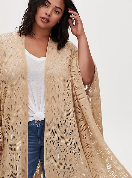 Plus Size Beige Open Knit Fringe Ruana, , alternate