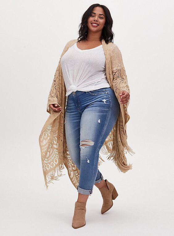 Plus Size Beige Open Knit Fringe Ruana, , hi-res