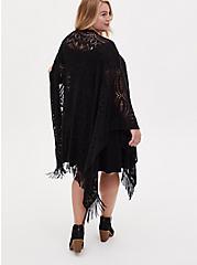Black Crochet Fringe Ruana, , alternate